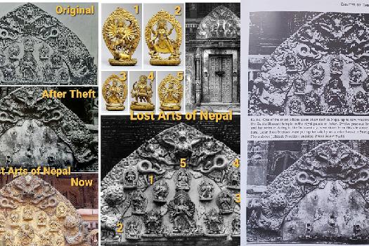 तलेजुबाट चोरिएका तोरन–मूर्ति फ्रान्समा लिलामीमा
